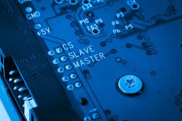 modern blue circuit harddisk board