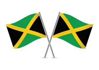 Jamaican flags. Vector illustration.