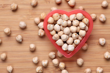 Chickpeas in a heart bowl