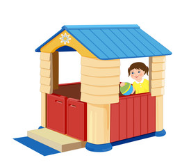 Playground for children. Illustration of toy house