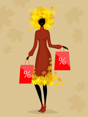 Woman and autumn discounts