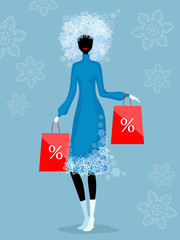 Woman and winter discounts