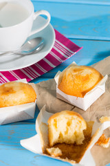 Breakfast with milk and muffins