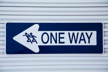 Blue and White One Way Sign