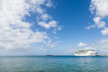 Cruise Ship on Horizon Under Nice Skies