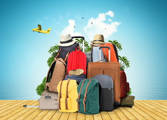 Bag, large baggage tourists from backpacks and suitcases