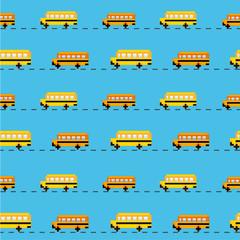 Pixel school bus seamless vector pattern