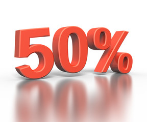 Three dimentional rendering of fifty percent symbol