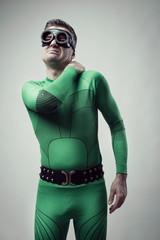 Superhero with stiff neck
