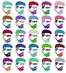 Stencils faces of men of different colors. Raster.