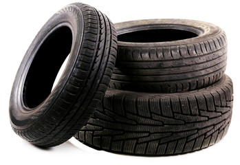 Tyres isolated on white