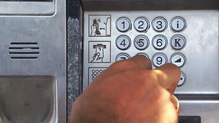 Numerical keypad on payphone. Crete. Greece