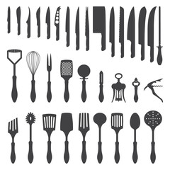vector dark grey kitchen cutlery silhouette set