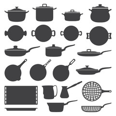vector dark grey cookware silhouette set