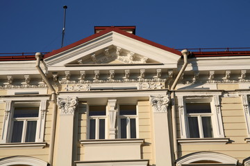 Fragment of a building in the center of Vilnius