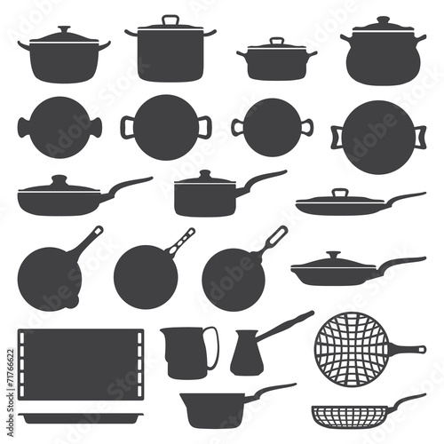 vector dark grey cookware silhouette set - 71766622