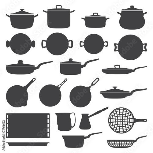 vector dark grey cookware silhouette set - 71766622