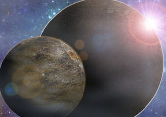 Deep space exoplanet planet illustration