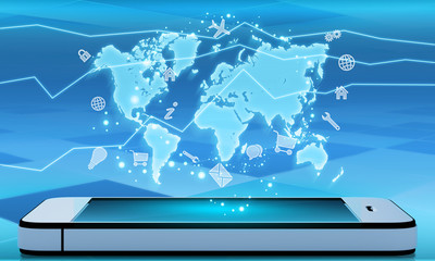 mobile phone and a world map with icons.