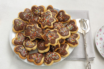 Shortbread cookies with chocolate icing