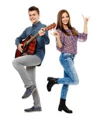 Teenagers singing
