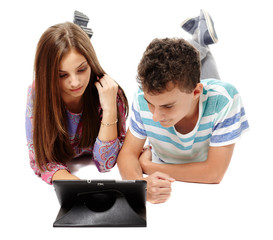 Teenagers using a tablet