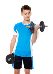 Teenage boy working out