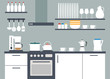 Kitchen interior, vector illustriation with icons - 71768645