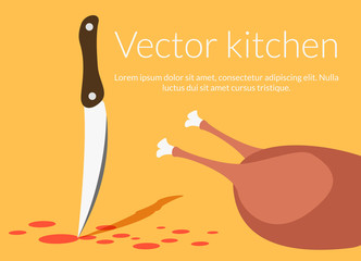 Knife and chicken in kitchen vector illustration