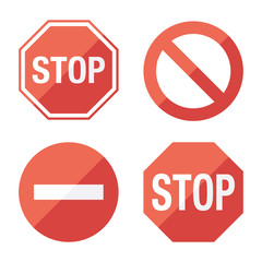 Stop sign, set. Flat design.