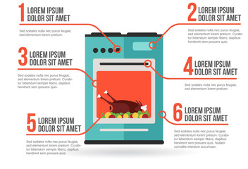 Kitchen oven with roast chicken infographic vector