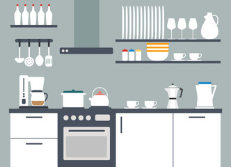 Kitchen interior, vector illustriation with icons