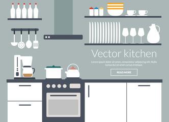 Kitchen interior vector illustriation card
