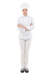 full length portrait of young woman in chef uniform isolated on