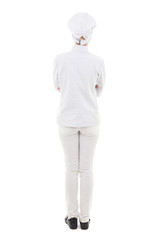 full length back view of young woman in chef uniform isolated on