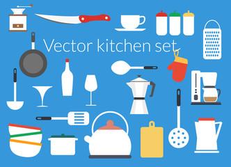 Kitchen icons vector set flat design