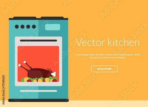 Kitchen oven with roast chicken vector illustration - 71768620