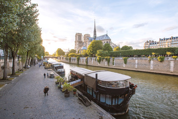 Seine River and The Cathedral of Notre Dame de Paris, France