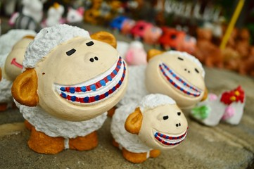 Smiling Sheep Clay Doll for Christmas