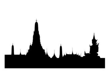 Silhouetted of wat arun with buddha sculpture