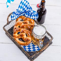 homemade pretzels and bavarian beer