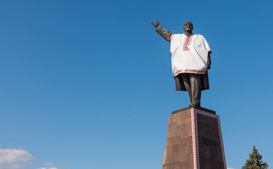 Lenin dressed in Ukrainian national costume