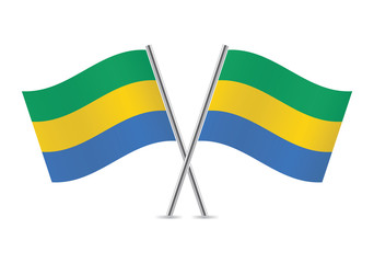 Gabon flags. Vector illustration.