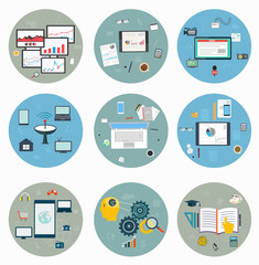 Flat icons for web and mobile, business strategy