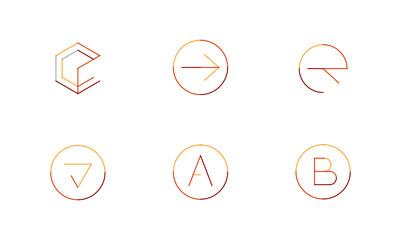 Logo set, thin line clean style