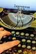 Leinwanddruck Bild - Alte Schreibmaschine, Impressum Wort