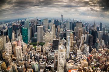 Paesaggio di città di new york con grattacieli