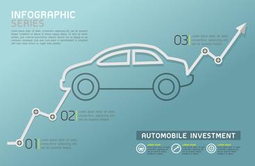 Automobile Rising Line Diagram Template Vector