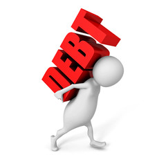 white 3d person carry heavy DEBT red word