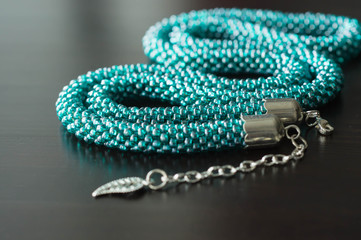 Necklace from beads of color aquamarine